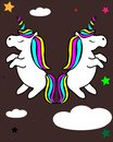Unicorn with rainbow hair vector illustration for children design.