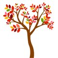 Web. Vector illustration. autumn trees with yellow-orange leaves isolated on white background.