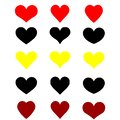 Web Set of hearts on white background, yellow black red. illustration of hearts banner, logo, print.