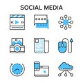 Flat Line Icons With Blue Colo...