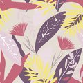 Tropical seamless pattern with colorful leaves on pastel background. Vector design. Flat jungle print. Floral background.