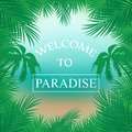 Vector summer background with palm trees, beach ,sea framed with palm branches ,inscription welcome to Paradise