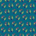 Vector seamless pattern with abstract colorful feathers.