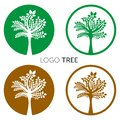 Tree Logo abstract design vector template Negative space style. Eco Green Organic Oak Plant Logotype concept icon.