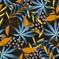 Abstract tropical seamless pattern with bright leaves and plants on a dark background. Vector design. Jungle print. Floral backgro