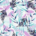 Trend seamless pattern with bright tropical leaves and plants on a light background. Vector design. Jung print. Floral background.