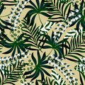 Summer bright original seamless pattern with tropical leaves and plants on beige background. Vector design. Jung print. Floral bac