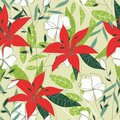 Trend seamless pattern with bright tropical leaves,plants and flowers on a light background. Vector design. Jungle print. Floral b