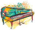 Piano in watercolor sketch style. Colorful hand drawn grunge style art for banner, card, t-shirt, tattoo, print, poster.