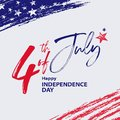 Fourth of July banner with hand drawn elements and lettering Royalty Free Stock Photo