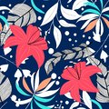 Trend abstract seamless pattern with colorful tropical leaves and plants. Vector design. Jungle print. Floral background. Printing