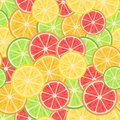 Seamless pattern. Citrus fruits: lemon, orange, lime, grapefruit