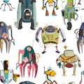 Seamless pattern with cartoon robots characters set. Technology, future. Artificial intelligence design concept. Isolated on white