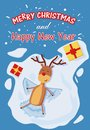 Merry Christmas greeting card illustrating a reindeer making a snow angel. top view.