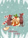 Chinese New Year greeting card 2020. Cute mice with sweet tasty cake