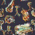 Seamless pattern with musical instruments set. Design concept for jazz music party. Piano, saxophone, guitar, cello, drum kit in g Royalty Free Stock Photo