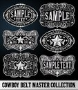 Western Style Cowboy Belt Buckle Label Master Collection Set. Royalty Free Stock Photo