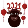 Happy Chinese New Year. The symbol of the year 2021 - ox