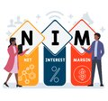 Flat design with people. NIM - Net Interest Margin  acronym. business concept background. Royalty Free Stock Photo