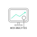 Web analytics with black thin line pc