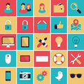 Web and application flat icons set vector in retro colors for the mobile applications Stock Images