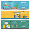 Web Banner set Office workplace interior design Graphic . Business objects, elements and equipment. Flat Illustration