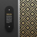 Web banner template on golden metallic background with seamless pattern Royalty Free Stock Photo