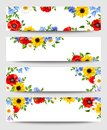 Web banners with colorful flowers. Vector illustration. Royalty Free Stock Photo