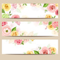Web banners with pink, orange and yellow flowers. Vector eps-10. Royalty Free Stock Photo