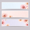 Web banners with roses. Vector eps-10. Royalty Free Stock Photo