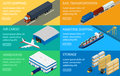 Web banners set of logistics chain vector illustration delivery by truck airplane ship freight train warehouse forklift isometric Royalty Free Stock Photography