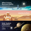 Web banners on the theme of astronomy fat vector space exploration colonization space solar system exploration first Stock Photos