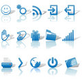 Web Blue Icons Set Shadows & Relections on White 2 Royalty Free Stock Photography