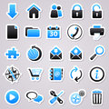 Web blue stickers icons for design Stock Photography