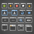 Web browser icons collection on dark Royalty Free Stock Photo