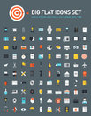 Web and business big flat icons set of marketing objects office working equipment communication technology items finance Royalty Free Stock Images