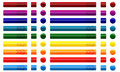 Web buttons with arrows many colored rectangle square and circle shapes Royalty Free Stock Image