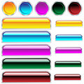 Web buttons glossy assorted colors and shapes Stock Photography