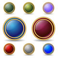 Web buttons with gold ring Stock Photo