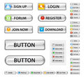 Web buttons, metalic. Royalty Free Stock Image