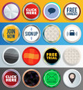 Web buttons round elements with adaptable shadows eps Stock Images