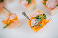 Web catering carrott salad in cups Stock Images