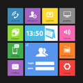 Web color tile interface template with modern icons Stock Photos