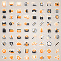 Web and computer stickers icons for design orange Royalty Free Stock Photos