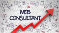Web Consultant Drawn on White Brickwall.
