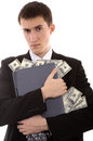 Web criminal stoles money with laptop and on isolated background Royalty Free Stock Photos