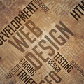 Web design grunge brown wordcloud Stock Photos
