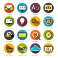 Web design icons set flat with site protection progress bar optimization symbols isolated vector illustration Royalty Free Stock Photos