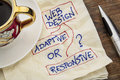 Web design question adaptive or responsive choice a napkin doodle with a cup of espresso coffee Stock Photos