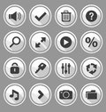Web design round buttons white set vector illustration Royalty Free Stock Photo